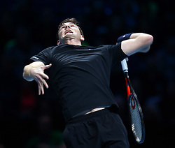 November 15, 2017 - London, United Kingdom - Jamie Murray (GBR) in action against Ivan Dodig (CRO) and Marcel Granollers (ESP).during Day Four of the Nitto ATP World Tour  Finals played at The O2 Arena, London on November 15 2017  (Credit Image: © Kieran Galvin/NurPhoto via ZUMA Press)