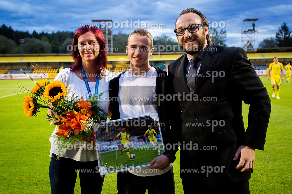 Jan Repas, Tina Jeklic and Matej Orazem of NK Domzale during football match between NK Domžale and NK Aluminij in 6th Round of Prva liga Telekom Slovenije 2017/18, on August 20, 2017 in Sports park Domzale, Domzale. Photo by Ziga Zupan / Sportida