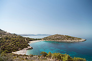 High angle view of neighboring beaches of Trahili (bottom left) and Xeropotamos (centre left) Chios, Greece