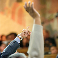 012615  Adron Gardner/Independent<br /> <br /> Delegate hands go up for a vote during the Navajo Nation Tribal Council winter session in Window Rock Monday.