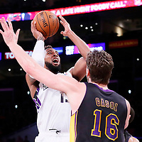 28 February 2014: Sacramento Kings power forward Derrick Williams (13) takes a jump shot during the Los Angeles Lakers 126-122 victory over the Sacramento Kings at the Staples Center, Los Angeles, California, USA.