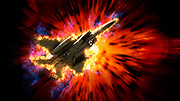 Digitally enhanced image a McDonnell Douglas F-15 Eagle as a flies past a supernova affect
