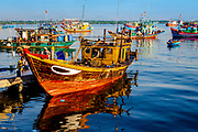 September 2020, Ben Do Day, Vietnam: Boats return in the early morning from overnight fishing. RAW to Jpg