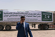 """Mcc0081437 . Daily Telegraph<br /> <br /> DT Foreign<br /> <br /> Trucks carrying aid from the King Salman Humanitarian Aid & Relief Centre which has driven across from Saudi Arabia to Yemen .<br /> <br /> Thanks to oil revenues and close ties with Saudi Arabia Marib could be viewed almost as an oasis of normalcy in a country torn apart by civil war . Since the conflict began in 2015 the town has expanded dramatically with Yemeni's flooding in from Houthi controlled areas attracted by the relative peace and stability .<br /> <br /> Yemen has been in the midst of a civil war since 2015 when the President Abdrabbuh Mansur Hadi was forced to flee . A Saudi led coalition with 9 other Arab states  named """"Operation Decisive Storm """"  has since sought to restore Hadi with little effect .<br /> <br /> Yemen 20 February"""