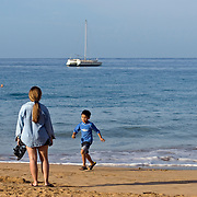 Mother and Son on Kamaole Beach in Maui, Hawaii