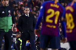 February 6, 2019 - Barcelona, Spain - FC Barcelona's manager Ernesto Valverde during semifinal of spanish King Cup frist leg match between FC Barcelona and Real Madrid at  Nou Camp Stadium on February  6, 2019. (Credit Image: © Jose Miguel Fernandez/NurPhoto via ZUMA Press)