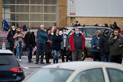 © Licensed to London News Pictures. 02/11/2020. Watford, UK. Members of the public queue to enter COSTCO in Watford, Hertfordshire ahead of a second national lockdown. Strict measures are due to be re-introduced later this week in an attempt to fight a second wave of the COVID-19 strain of Coronavirus. Photo credit: Ben Cawthra/LNP