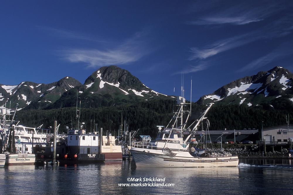 Cordova Harbor is a scenic place, especially when weather allows a view of nearby Chugach Mountains. Cordova, Alaska, USA