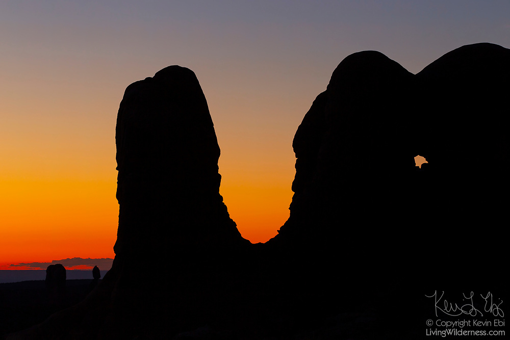 A large sandstone rock formation that's part of group known as the Parade of Elephants is rendered in silhouette at dusk in Arches National Park, Utah.