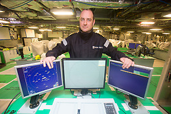 Captain Euan Staurt, Commander Warfare, in the Operations Room. Tour of the Queen Elizabeth Aircraft Carrier under construction at the Babcock site in Rosyth dockyard.