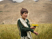 A student returns from school, offers a sunflower to the passing tourists. <br /> Shimshal village, one of the remotest village in Gojal region, upper Hunza.
