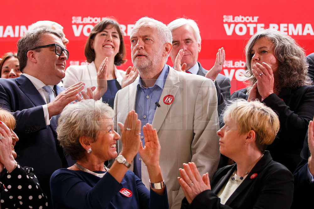 © Licensed to London News Pictures. 14/06/2016. London, UK. Labour Leader JEREMY CORBYN poses with the shadow cabinet before speaking on NHS and the EU at TUC Conference Centre in London on 14 June 2016. Photo credit: Tolga Akmen/LNP