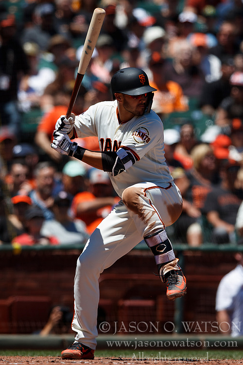 SAN FRANCISCO, CA - JULY 15: Chase d'Arnaud #2 of the San Francisco Giants at bat against the Oakland Athletics during the third inning at AT&T Park on July 15, 2018 in San Francisco, California. The Oakland Athletics defeated the San Francisco Giants 6-2. (Photo by Jason O. Watson/Getty Images) *** Local Caption *** Chase d'Arnaud