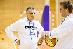 Boris Zrinski and Tomo Oresnik during practice session of Slovenian Women Basketball Team, on May 14, 2014 in Arena Vitranc, Kranjska Gora, Slovenia. Photo by Vid Ponikvar / Sportida