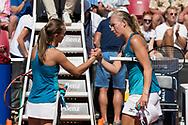 Aleksandra Krunic greets Johanna Larsson during the 2019 Swedish Open in Båstad on July 11, 2019. Photo Credit: Katja Boll/EVENTMEDIA.
