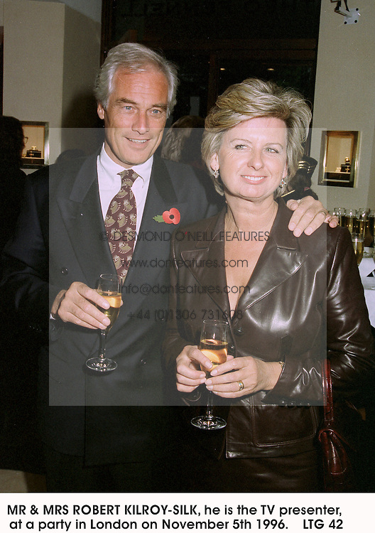 MR & MRS ROBERT KILROY-SILK, he is the TV presenter, at a party in London on November 5th 1996.    LTG 42