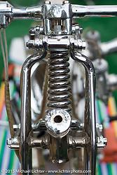 Ryan Grossman's survivor Harley-Davidson Panhead chopper Quicksilver at Born Free-7. Oak Canyon Ranch. Silverado, CA. USA. Saturday, June 27, 2015.  Photography ©2015 Michael Lichter.