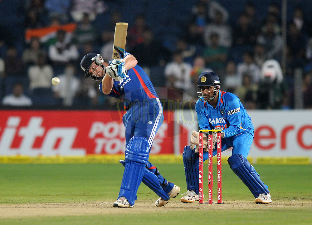 Jos Buttler of England bats during the first Airtel T20 Match between India and England held at Subrata Roy Sahara stadium in Pune on the  20th December 2012..Photo by  Pal Pillai/BCCI/SPORTZPICS .
