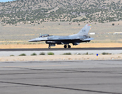 September 13, 2018 - Reno, Nevada, U.S. - RENO, NV - SEPTEMBER 13: The F-16 Fighting Falcon lands after a precision aerial demonstration at the 55th National Championship Air Races the only closed course pylon racing event in the world, and is the world's longest running air race held in Reno, NV. (Photos by Lyle Setter/Icon Sportswire) (Credit Image: © Lyle Setter/Icon SMI via ZUMA Press)