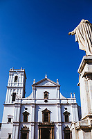 The facade of the Se Cathedral, South Asia's largest, in the historic town of Old Goa, India.
