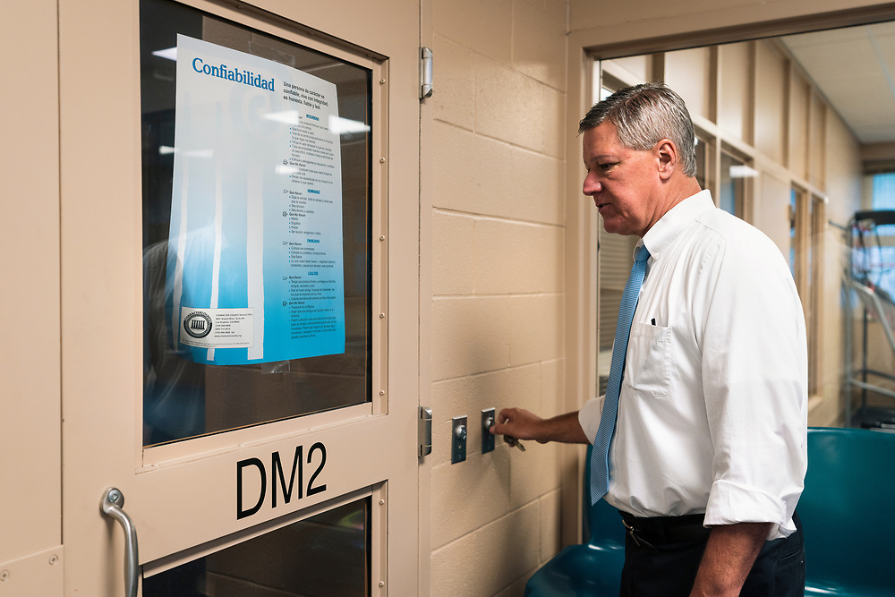 Juvenile Court Administrator John Bauman opens up an unused wing inside the Juvenile Detention Center at the City County Building in Madison, Wisconsin, Wednesday, June 12, 2019.