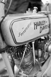 """Thomas Trapp's 1916 Harley-Davidson F """"Frankfurter"""" at a gas stop during Stage 8 of the Motorcycle Cannonball Cross-Country Endurance Run, which on this day ran from Junction City, KS to Burlington, CO., USA. Saturday, September 13, 2014.  Photography ©2014 Michael Lichter."""