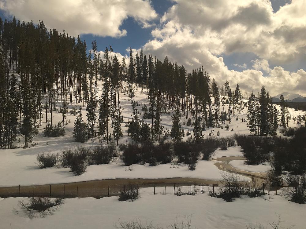 Amtrak Zephyr landscape, winter snow, pines and stream