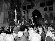 The colours are paraded to the altar during a Remembrance Day (Poppy Day) service held in St Patrick's Cathedral, Dublin, to commemorate the Irish who fell whilst on service with the British Army in the two World Wars.<br /> 13 November 1983