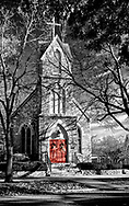 Sometimes witner sunlight seems to fall so wonderfully on beautiful things.  Notice the play between the low winter sunlight and the shadows from the trees on this beautiful stone work.  St. Mark's Episcopal Church in Geneva, IL   Aspect Ratio 1w x 1.59h