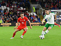 Football - 2018 / 2019 UEFA Nations League B - Group Four: Wales vs. Republic of Ireland<br /> <br /> Callum O'Dowda  of R.O.I. on the ball & Connor Roberts of Wales, at Cardiff City Stadium.<br /> <br /> COLORSPORT/WINSTON BYNORTH