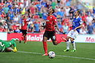 Cardiff's Fraizer Campbell shows his frustration as he just misses a chance at goal. .  Barclays Premier league, Cardiff city v Everton at the Cardiff city Stadium in Cardiff,  South Wales on Saturday 31st August 2013. pic by Andrew Orchard,  Andrew Orchard sports photography,