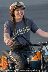 Brittney Olsen on her 1946 Harley-Davidson WR 45 ci racer built by her husband Matt Olsen (Carl's cycle supply) after the Sons of Speed Vintage Motorcycle Races at New Smyrina Speedway. New Smyrna Beach, USA. Saturday, March 9, 2019. Photography ©2019 Michael Lichter.