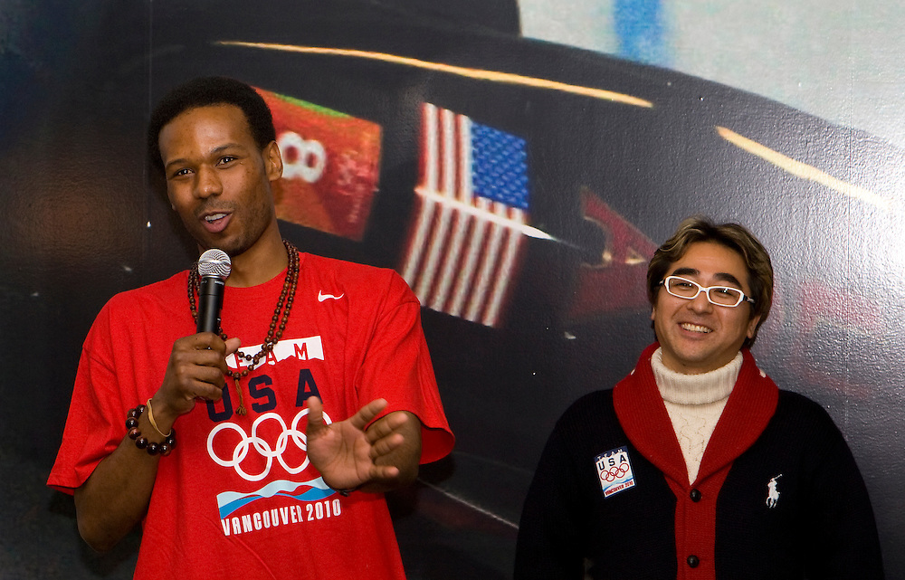 U.S. speed skater Shani Davis talks to the crowd about his coach at USA House, Vancouver, Canada