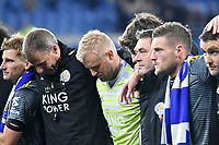 Football - 2018 / 2019 Premier League - Cardiff City vs. Leicester City<br /> <br /> An emotional Jamie Vardy of Leicester City & Kasper Schmeichel of Leicester City after the match in Leicster's 1st match since the death of Vichai Srivaddhanaprabha, at Cardiff City Stadium.<br /> <br /> COLORSPORT/WINSTON BYNORTH