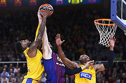 November 1, 2018 - Barcelona, Catalonia, Spain - DeAndre Kane, Ante Tomic and Alex Tyus  during the match between FC Barcelona and Maccabi Tel Aviv, corresponding to the week 5 of the Euroleague, played at the Palau Blaugrana, on 01 November 2018, in Barcelona, Spain. (Credit Image: © Joan Valls/NurPhoto via ZUMA Press)