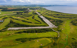 Aerial view of golf courses and old runway Trump Turnberry resort in Ayrshire, Scotland, UK