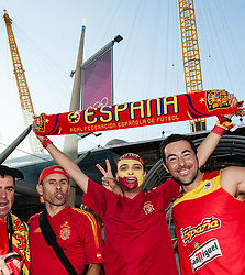 © Licensed to London News Pictures. 08/08/2012. London, UK.  Spanish basketball fans celebrate a 66-59 win over France in the quarter finals at the London 2012 Olympics. Photo credit : Richard Isaac/LNP