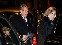 © Licensed to London News Pictures. 08/02/2016. London, UK. LYNTON CROSBY and his wife DAWN  leave the The Brewery in London after the annual Conservative Party Black & White Ball, a Conservative Party fundraiser.  Photo credit: Ben Cawthra/LNP