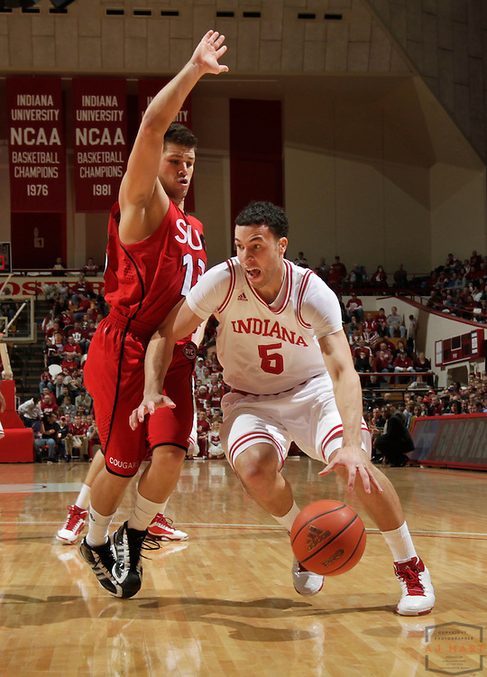17 December 2010: Indiana guard Jeremiah Rivers (5) as the Indiana Hoosiers played the Southern Illinois University at Edwardsville Cougars in a college basketball game in Bloomington, Ind.