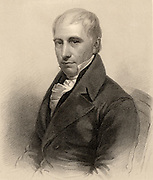 Thomas Thomson (1773-1852) Scottish chemist, born at Creiff, Perthshire. A disciple of Joseph Black, he became professor of chemistry at Glasgow University in 1817. Published 'A System of Chemistry' (1820).   Engraving from 'A Biographical Dictionary of Eminent Scotsmen' by the Rev. Thomas Thomson (Glasgow, Edinburgh and London, 1870).