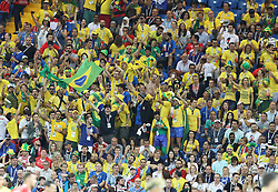 ROSTOV-ON-DON, June 17, 2018  Fans of Brazil celebrate scoring during a group E match between Brazil and Switzerland at the 2018 FIFA World Cup in Rostov-on-Don, Russia, June 17, 2018. (Credit Image: © Lu Jinbo/Xinhua via ZUMA Wire)
