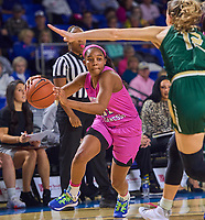 Middle Tennessee Blue Raiders guard Aislynn Hayes (11) drives toward the basket during the UAB Blazers at Middle Tennessee Blue Raiders college basketball game in Murfreesboro, Tennessee, Thursday, February, 20, 2020.<br /> Photo: Harrison McClary/All Tenn Sports