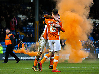 Blackpool's Sean Longstaff celebrates scoring his side's first goal with teammate Callum Cooke<br /> <br /> Photographer Alex Dodd/CameraSport<br /> <br /> The EFL Sky Bet League One - Bury v Blackpool - Saturday 3rd February 2018 - Gigg Lane - Bury<br /> <br /> World Copyright © 2018 CameraSport. All rights reserved. 43 Linden Ave. Countesthorpe. Leicester. England. LE8 5PG - Tel: +44 (0) 116 277 4147 - admin@camerasport.com - www.camerasport.com