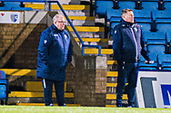Gillingham FC manager Steve Evans and assistant manager David Kerslake give tactics to their players during the EFL Sky Bet League 1 match between Gillingham and Crewe Alexandra at the MEMS Priestfield Stadium, Gillingham, England on 26 January 2021.