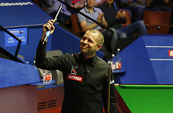 BRITAIN-SHEFFIELD-SNOOKER-WORLD CHAMPIONSHIP-QUARTERFINAL..(180502) -- SHEFFIELD (BRITAIN), May 2, 2018   Barry Hawkins of England celebrates after winning the quarter final match against Ding Junhui of China at the World Snooker Championship 2018 at the Crucible Theatre in Sheffield, Britain on May 2, 2018. (Credit Image: © Craig Brough/Xinhua via ZUMA Wire)