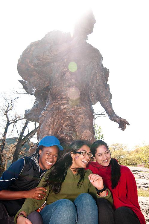 Brandeis students enjoy Springfest under the Judge Brandeis statue in Waltham, MA.