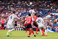 Real Madrid's player Sergio Ramos, Gareth Bale and Morata and Stade de Reims's player Jeanvier and Weber during the XXXVII Santiago Bernabeu Trophy in Madrid. August 16, Spain. 2016. (ALTERPHOTOS/BorjaB.Hojas)