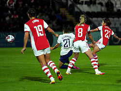 Arsenal's Mana Iwabuchi (right) scores their side's first goal of the game during the Vitality Women's FA Cup quarter final match at Borehamwood, London. Picture date: Wednesday September 29, 2021.