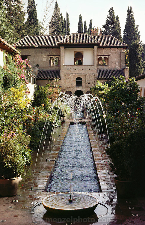 Gardens with fountains in the Generalife, Granada, Spain.