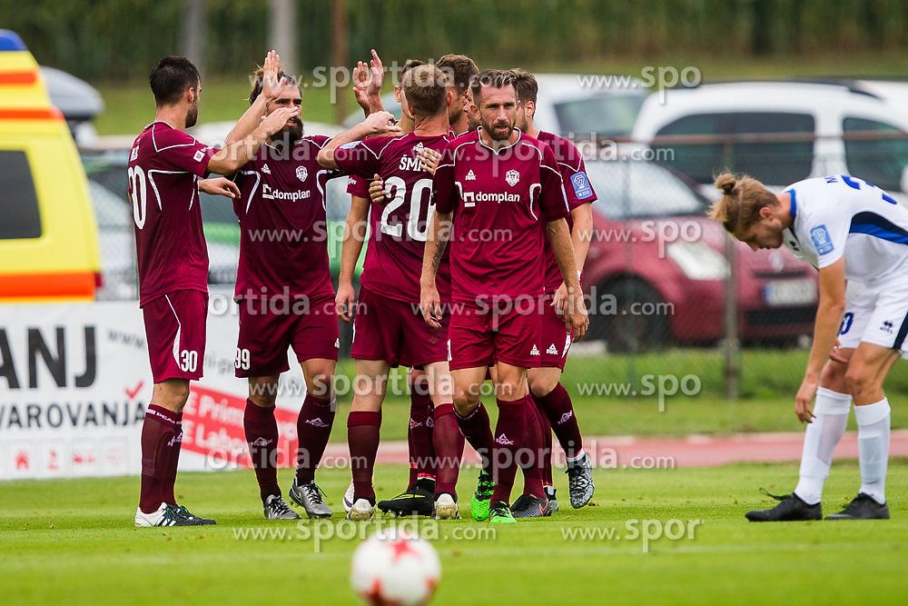 Players of NK Triglav Kranj celebrates during football match between NK Triglav Kranj and ND Gorica in 6th Round of Prva liga Telekom Slovenije 2017/18, on August 19, 2017 in Sports park Kranj, Kranj. Photo by Ziga Zupan / Sportida
